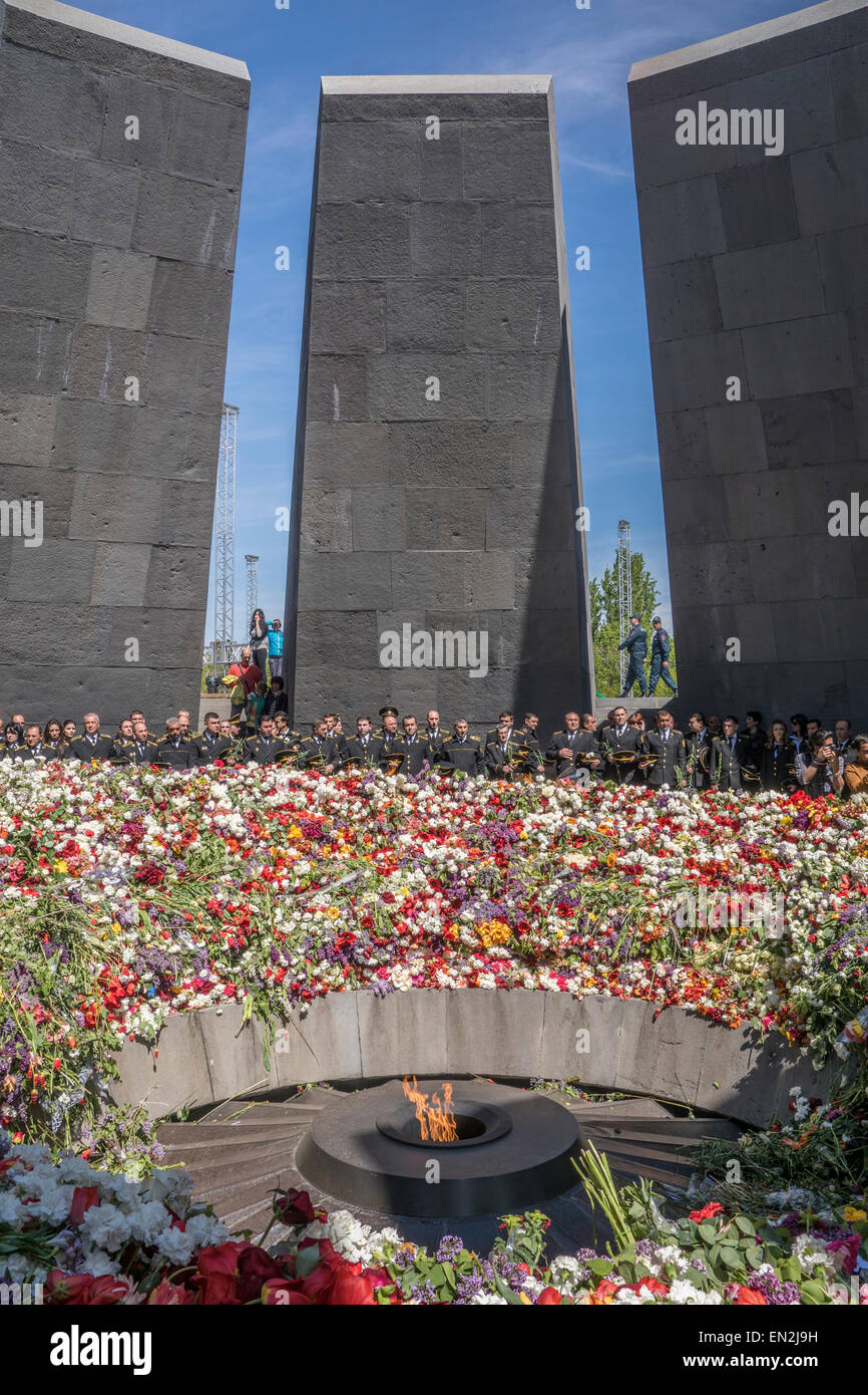 Yerevan, Armenia. 25th Apr, 2015. Commemoration at 100th anniversary of the Armenian genocide at the Armenian Genocide - Stock Image