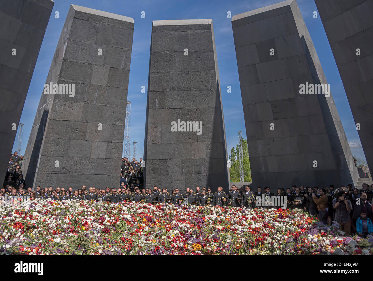Yerevan, Armenia. 25th Apr, 2015. Armenian military at commemoration at 100th anniversary of the Armenian genocide - Stock Image