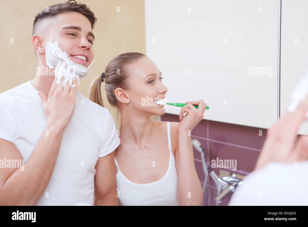 Lovely pair doing morning routine - Stock Image