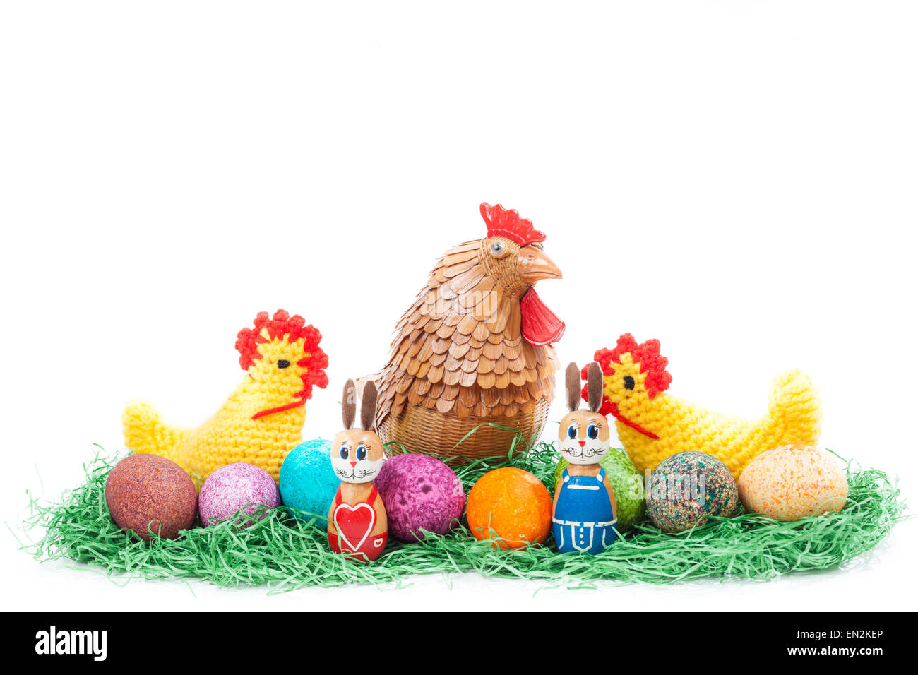 Colorulf easter nest with chick, hen and bunnies - Stock Image