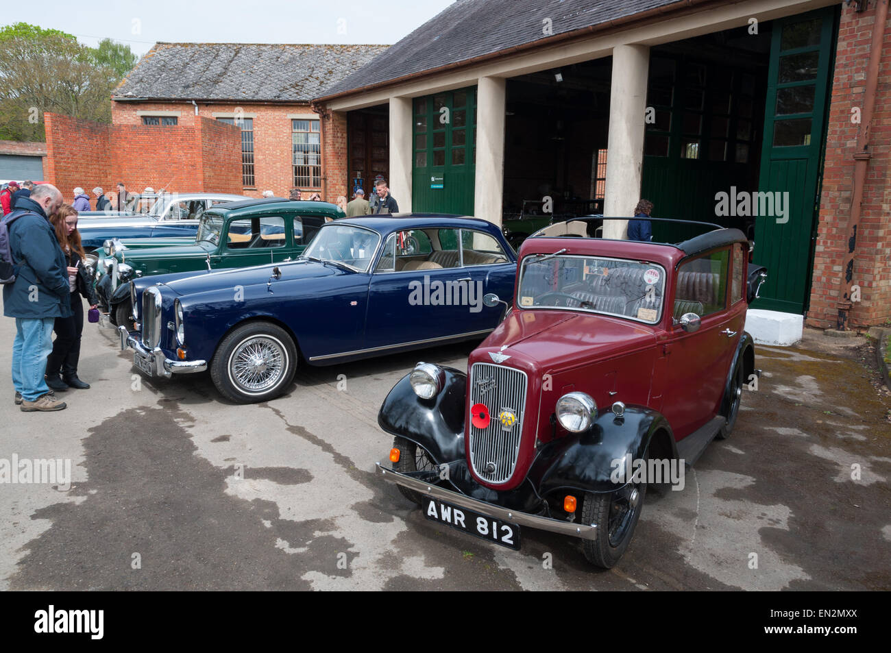 Scene with classic cars at the 5th Sunday Brunch Scramble in Bicester Heritage, Oxfordshire, England - Stock Image