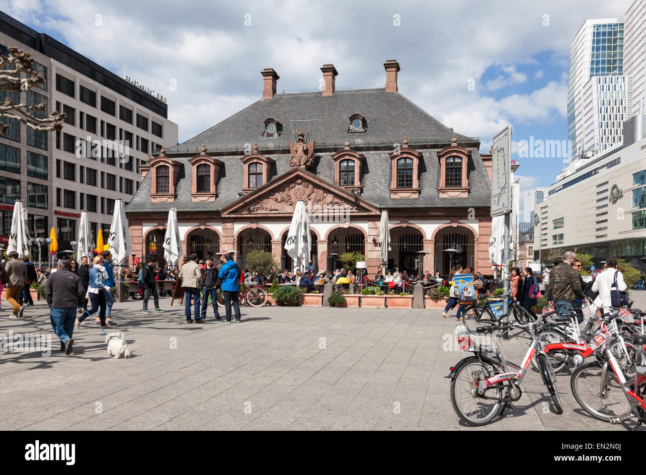 Historic Hauptwache (guard house) building in the city of Frankfurt Main, Germany Stock Photo