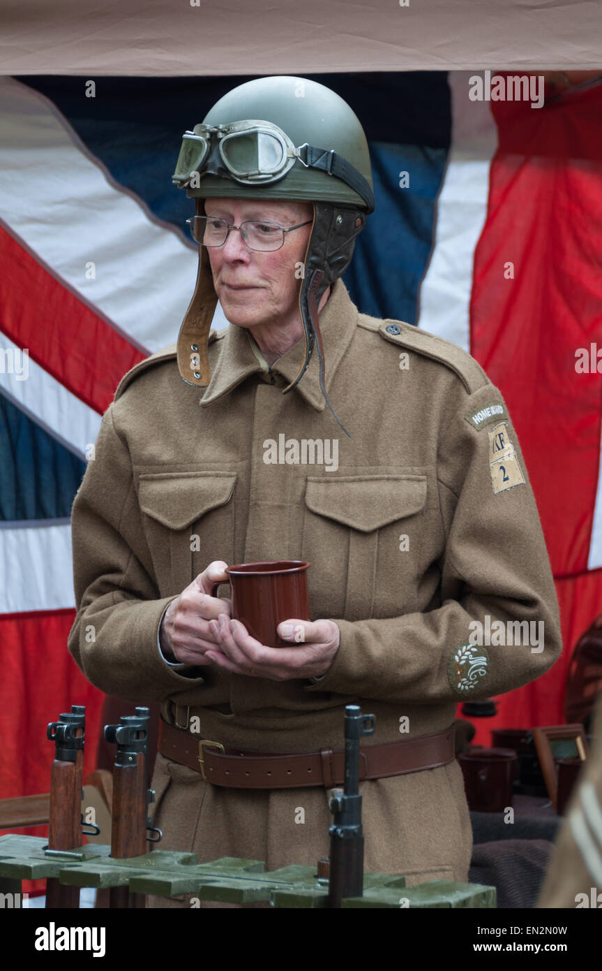 Bicester Home Guard group at the 5th Sunday Brunch Scramble in Bicester Heritage, Oxfordshire, England Stock Photo