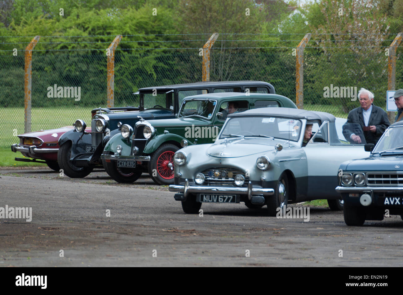 Vintage cars at the 5th Sunday Brunch Scramble in Bicester Heritage, Oxfordshire, England - Stock Image