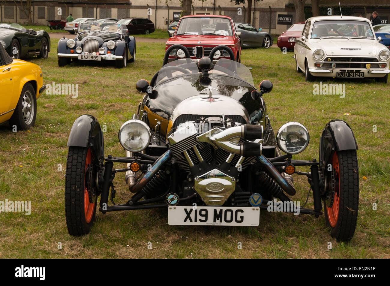 Morgan three wheeled vintage sports car at the 5th Sunday Brunch Scramble in Bicester Heritage, Oxfordshire, England - Stock Image