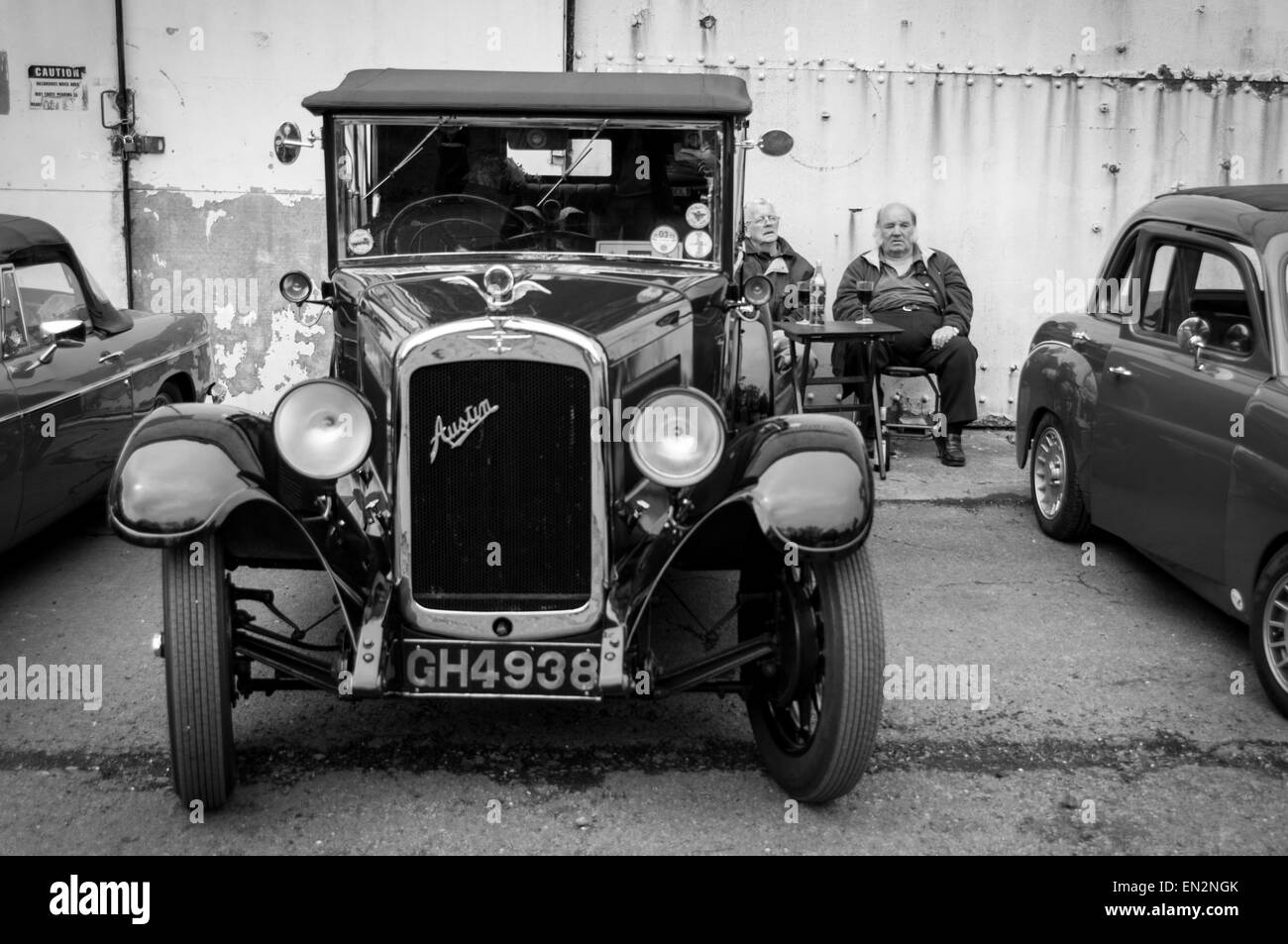 Vintage Austin at the 5th Sunday Brunch Scramble in Bicester Heritage, Oxfordshire, England - Stock Image