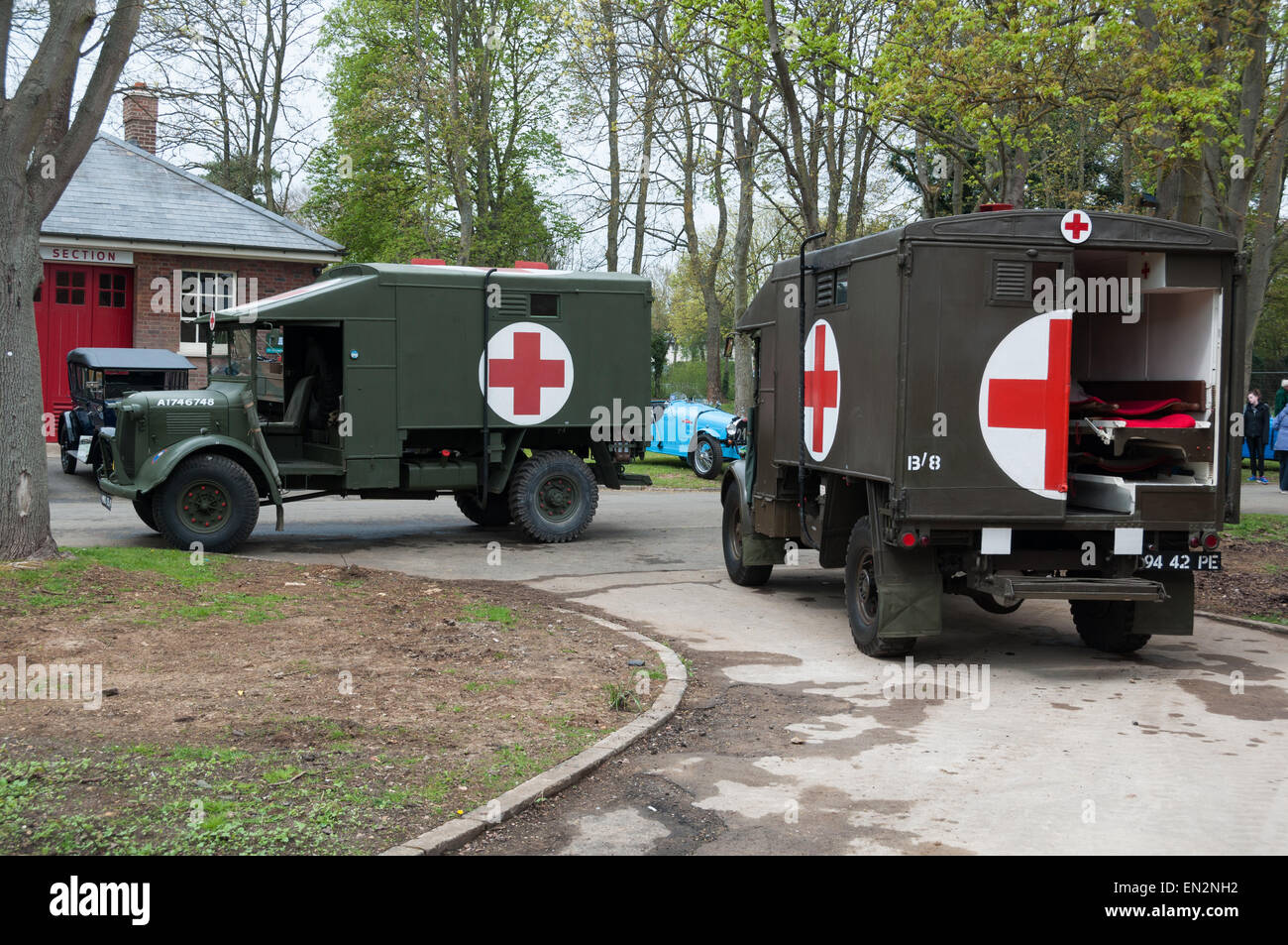 Vintage Red Cross trucks at the 5th Sunday Brunch Scramble in Bicester Heritage, Oxfordshire, England - Stock Image