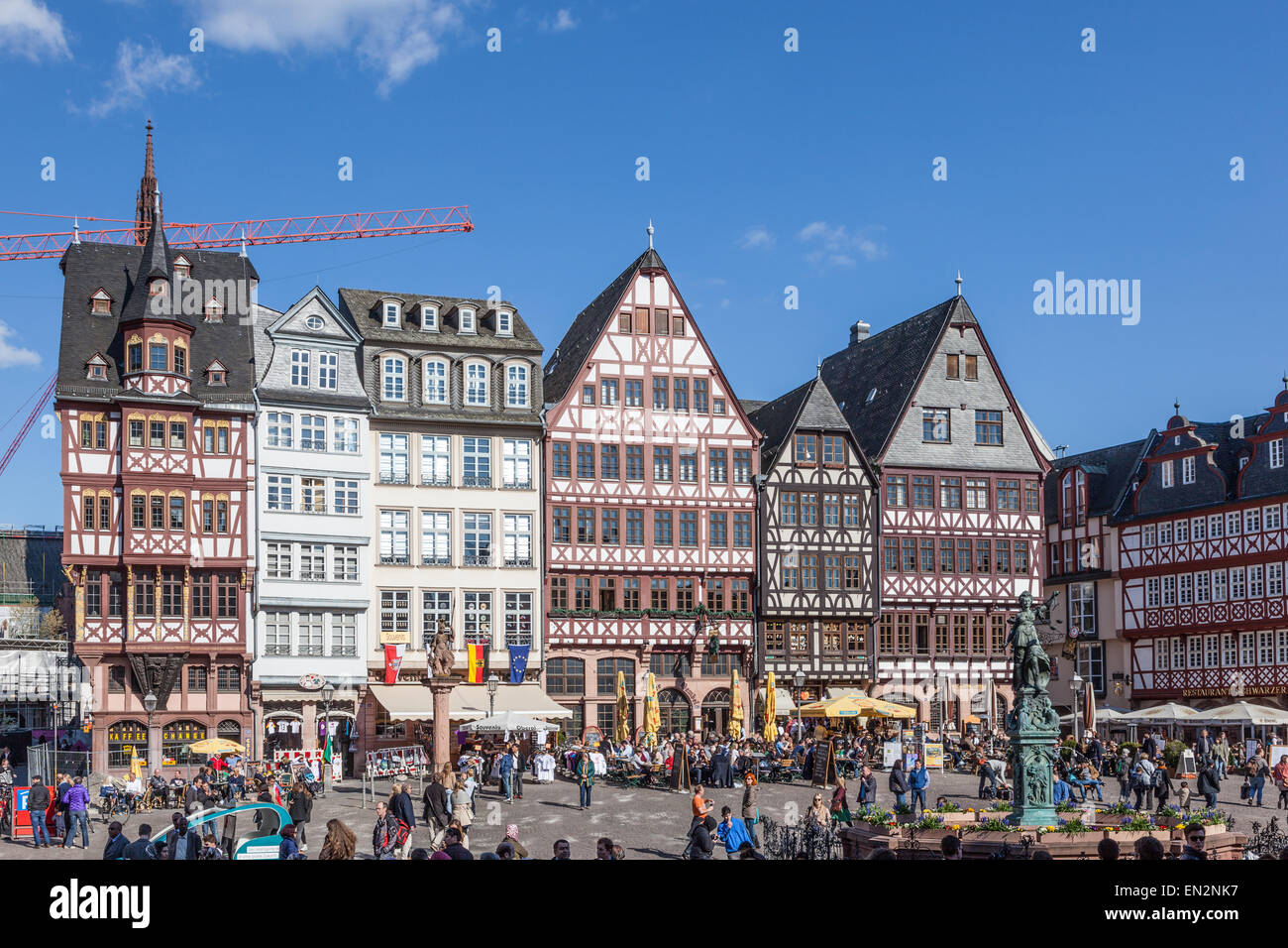 People on Roemerberg square in the historic center of Frankfurt Main, Germany Stock Photo