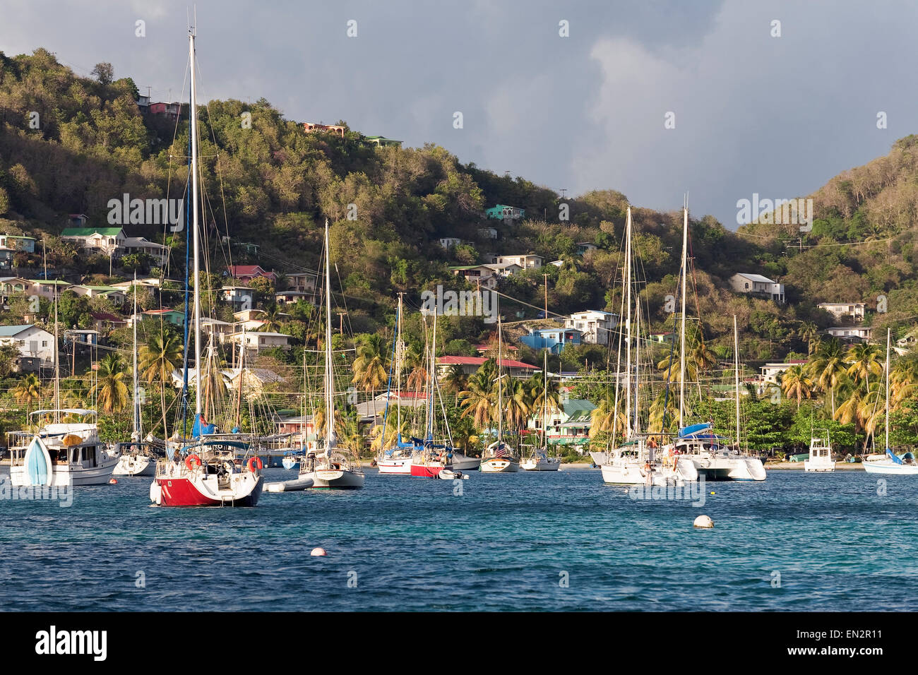 Moored Sailboats, Bequia, Saint Vincent and the Grenadines - Stock Image