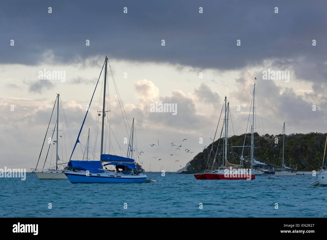 Sailboats anchored for the evening, Tobago Cays Marine Park, Grenadines - Stock Image