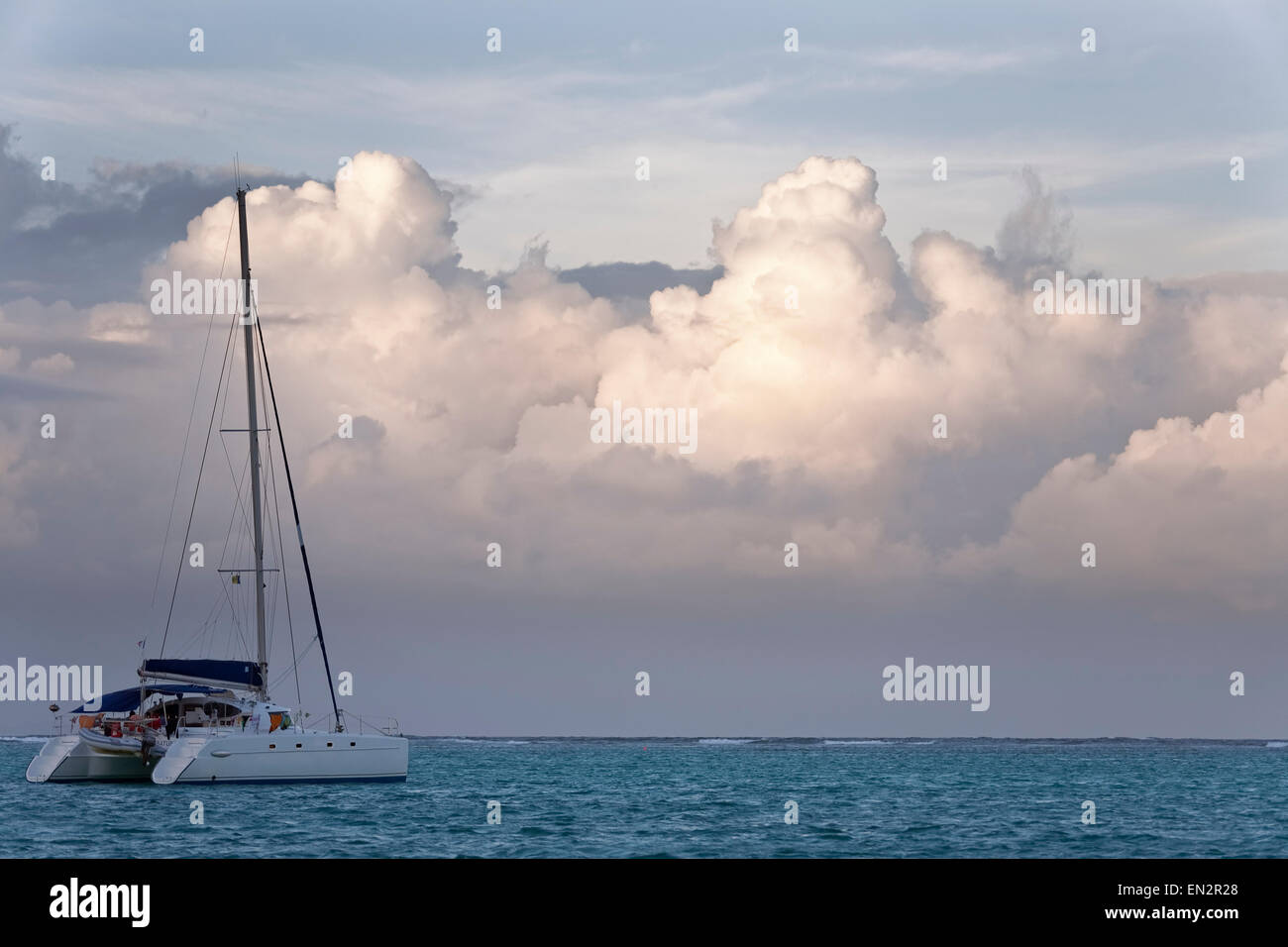 Catamaran anchored for the evening, Tobago Cays Marine Park, Grenadines Stock Photo