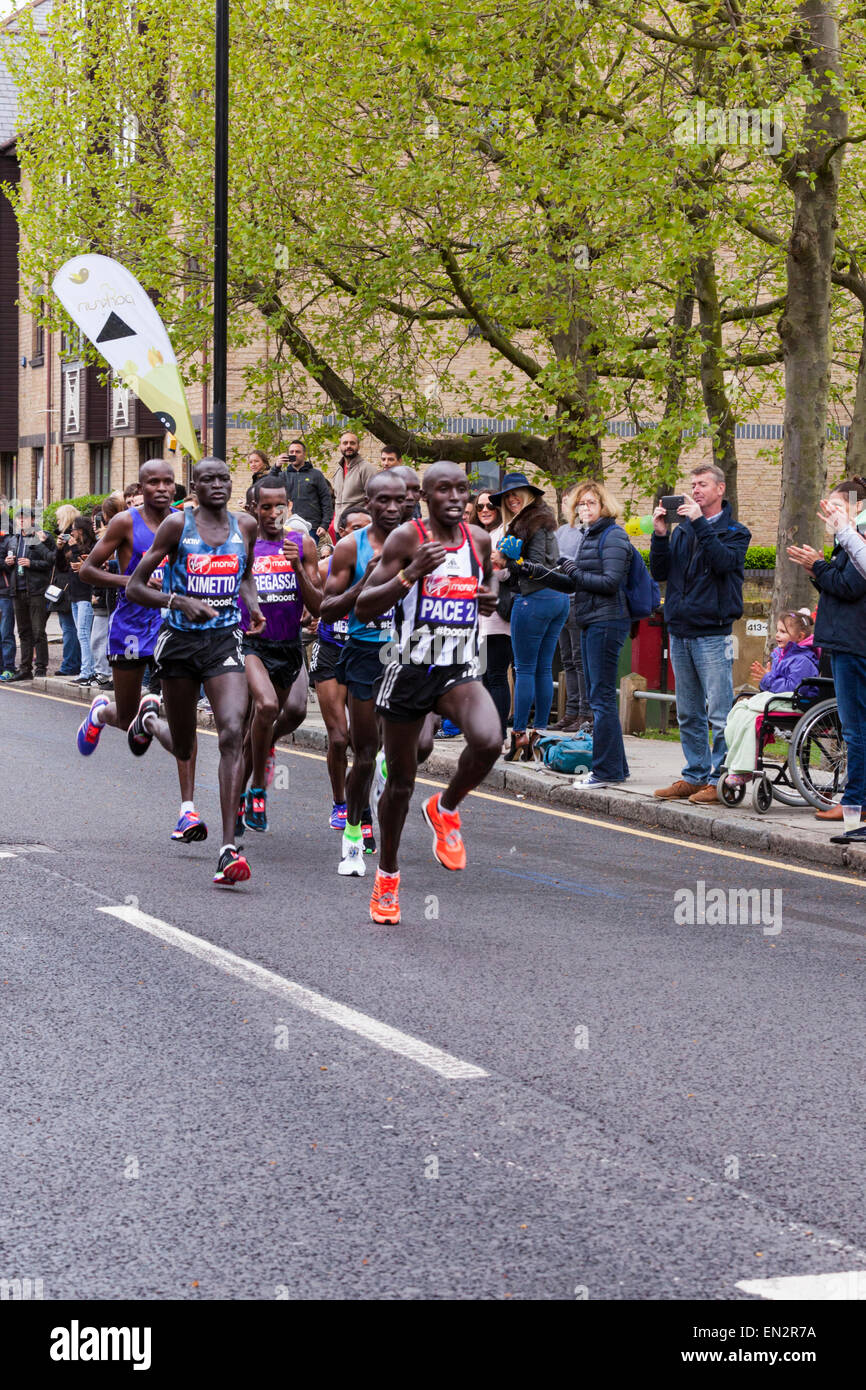 London, UK. 26th April, 2015.  The elite men's race runners with later men's winner Eliud Kipchoge and World - Stock Image