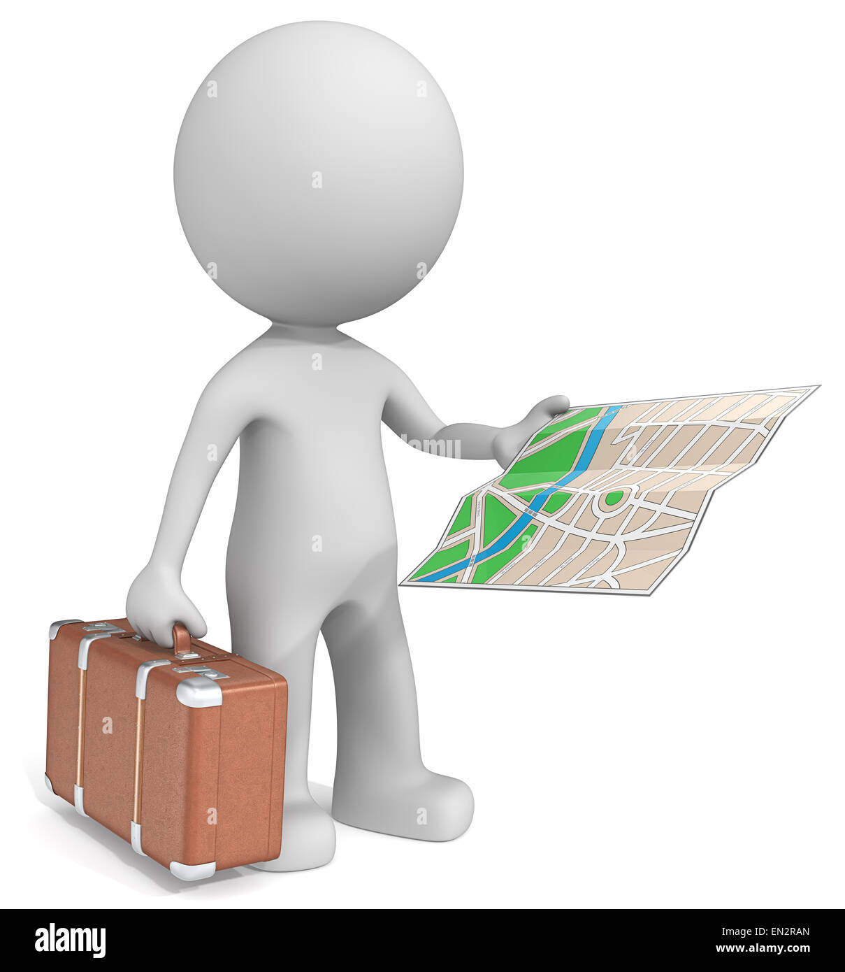 The dude 3D character holding retro suitcase and city map. - Stock Image