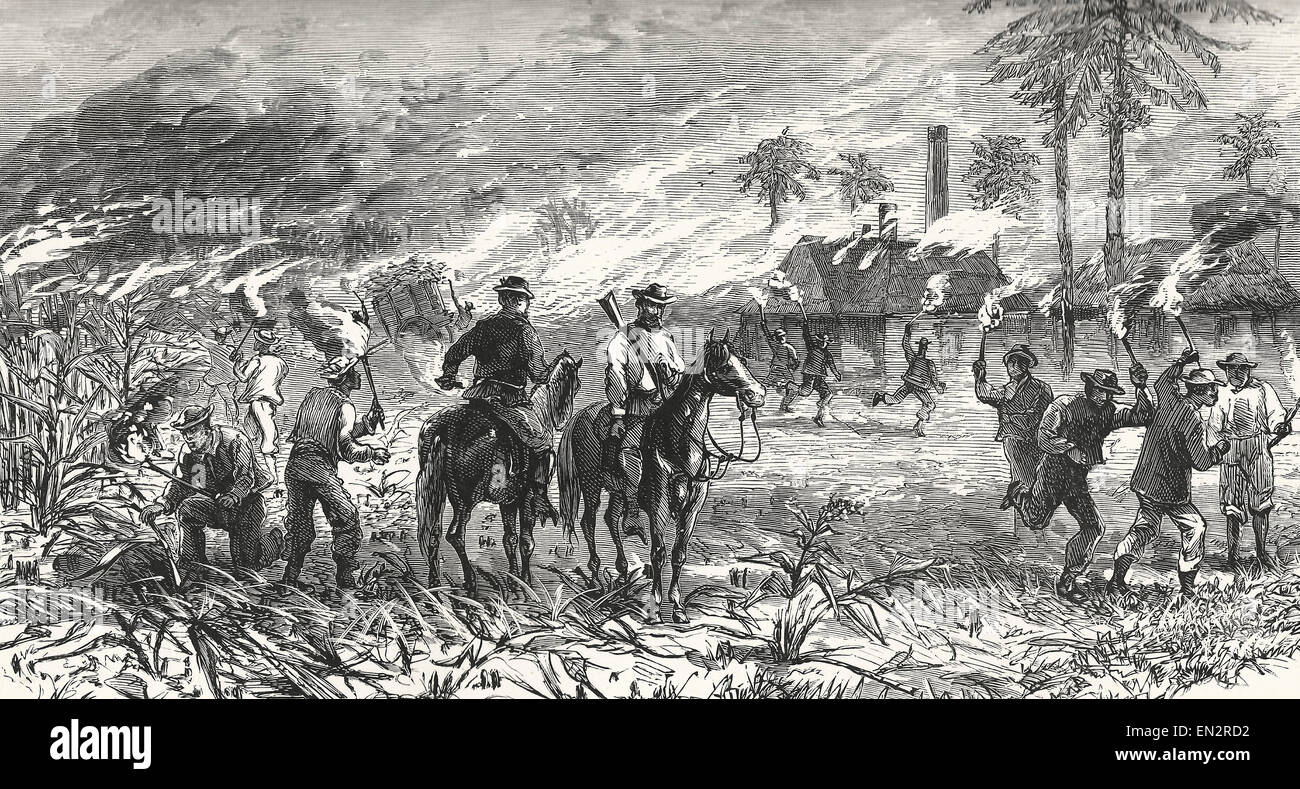 The Patriots burning plantations during the Ten Years War in Cuba - Stock Image