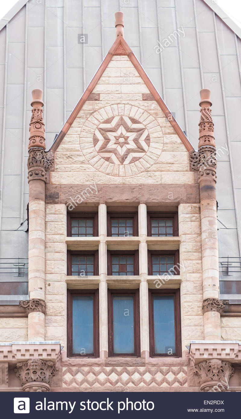 Architectural details of the Old City Hall which is a variance of the Romanesque Revival called Richardsonian Romanesque. - Stock Image