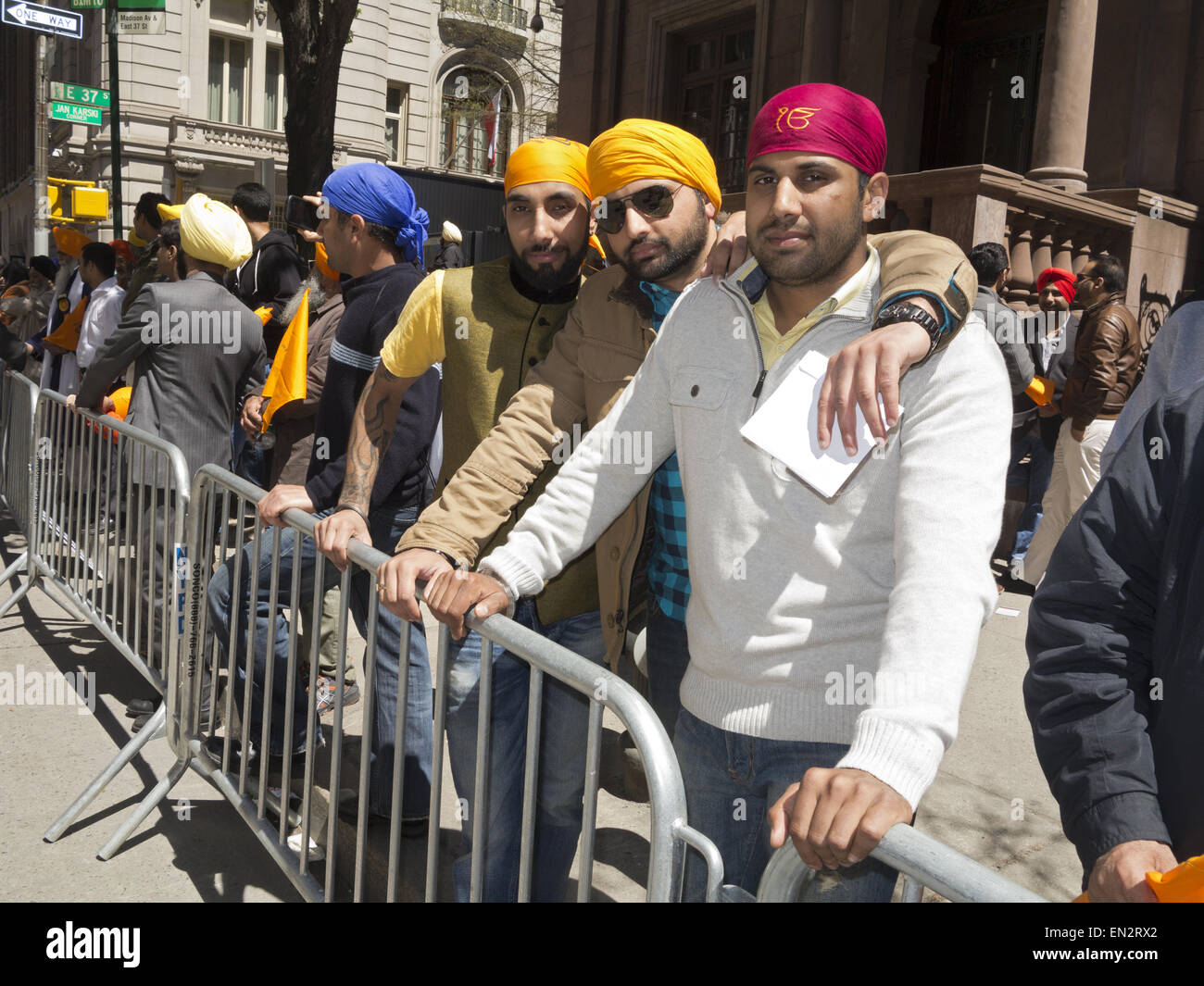 Annual Sikh Day Parade and festival on Madison Avenue in New York City, 2015. - Stock Image