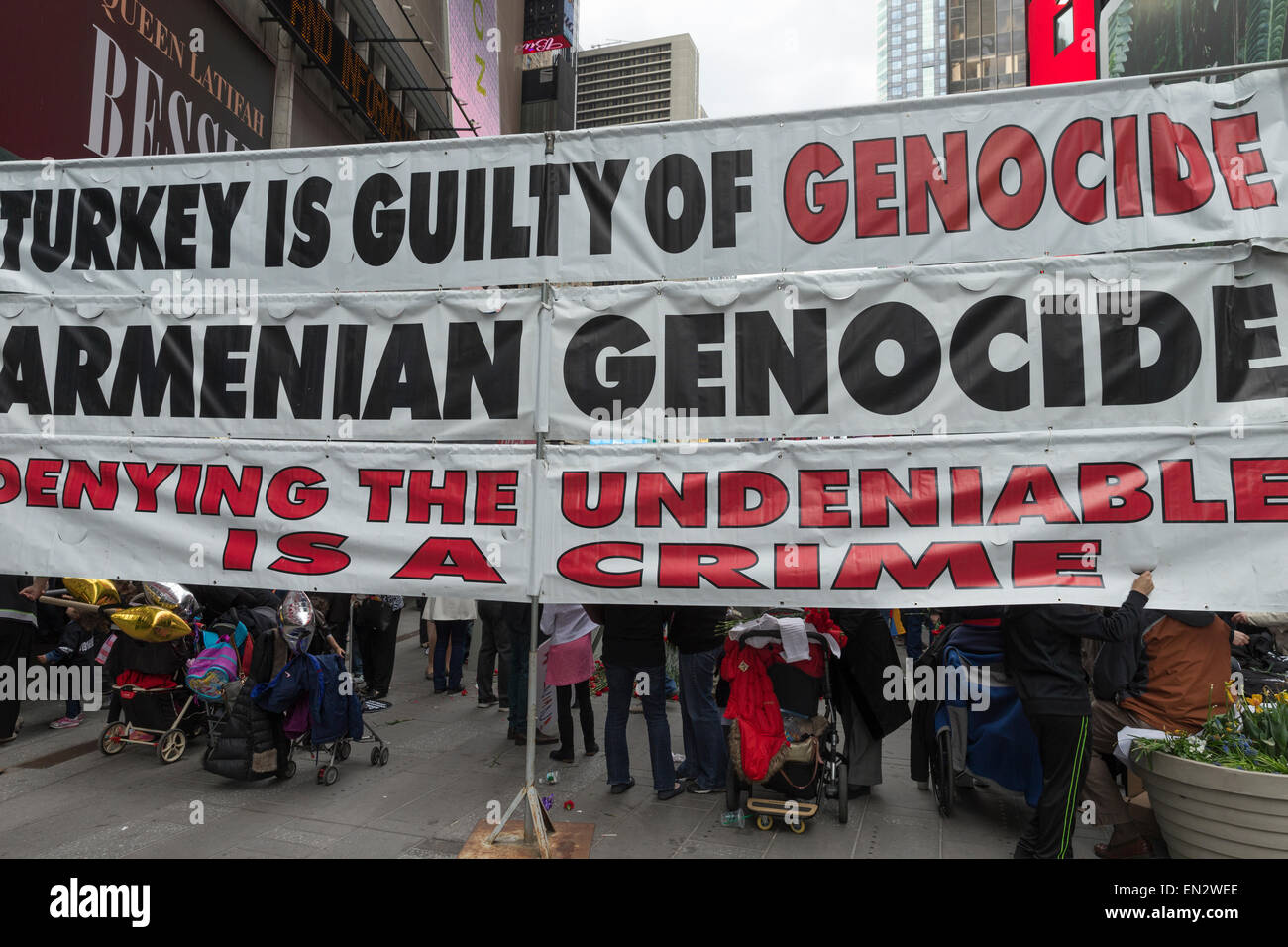 New York, NY - April 26, 2015: Thousands rally in Manhattan Times Square to mark centennial of the deaths of 1.5 - Stock Image