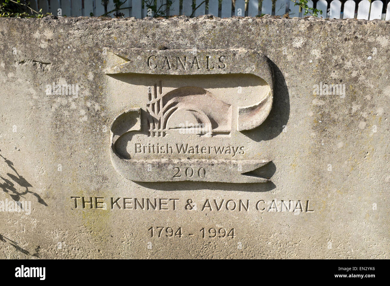 Biennial Memorial of The Kennet and Avon Canal 1794 1994 Sign at Caen Hill in Devizes - Stock Image