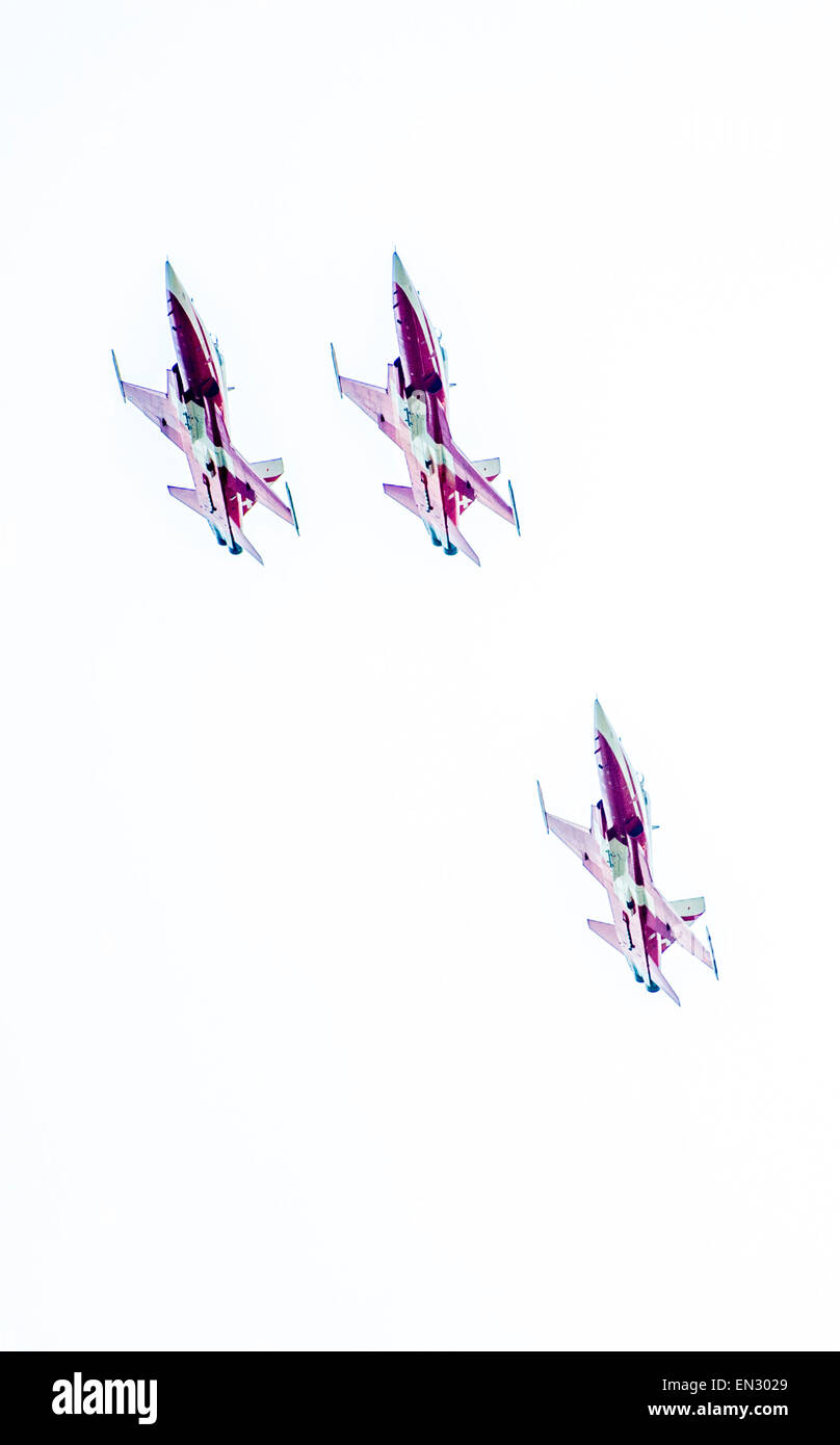 Three Swiss Air Force F-5E Tiger II fighter - Stock Image