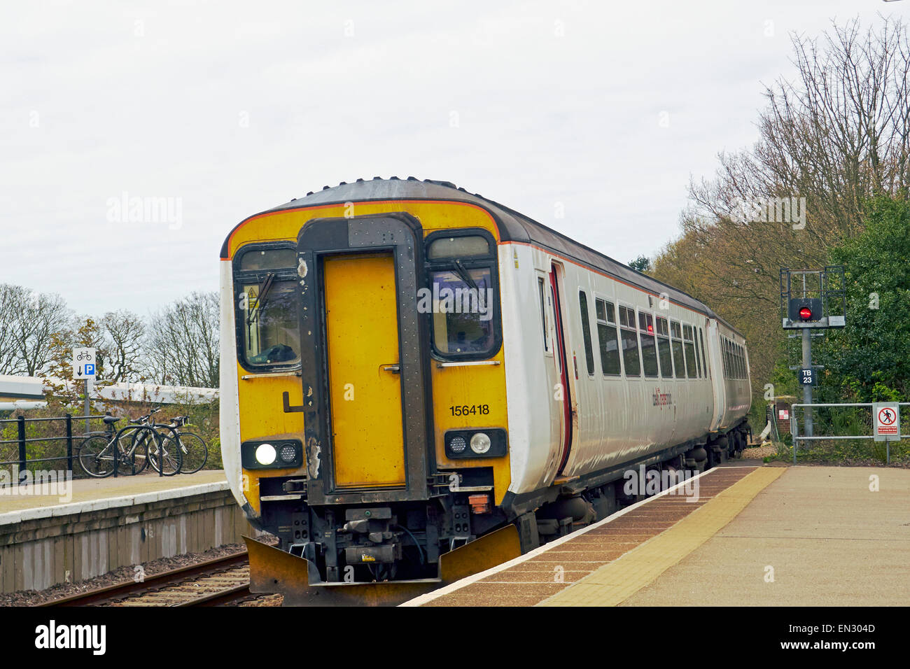 Abellio Greater Anglia Class 156 Super Sprinter diesel multiple-unit train (DMU) at North Walsham on branch line - Stock Image