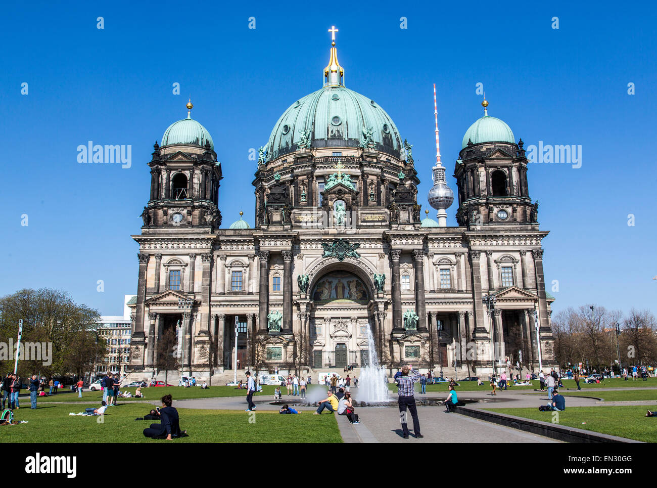 Berlin Dome, cathedral, East Berlin television tower, Germany, - Stock Image