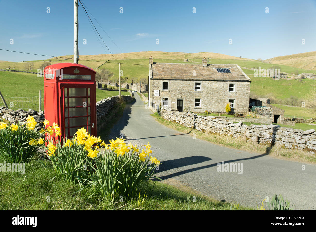 Keld & Red Telephone Box April 2015 - Stock Image