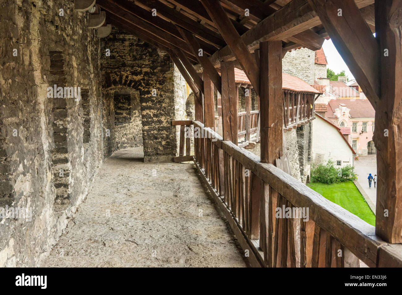 Walkway on town wall near the Monastery Gate, old town of Tallinn, Estonia. Stock Photo