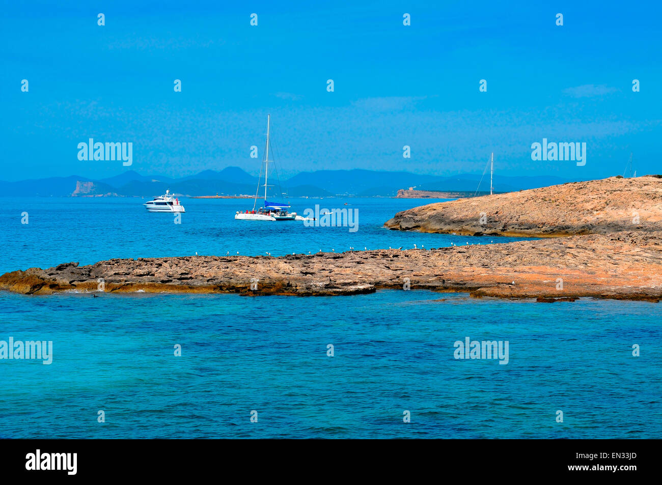 view of Ses Illetes coast in Formentera, Balearic Islands, Spain - Stock Image