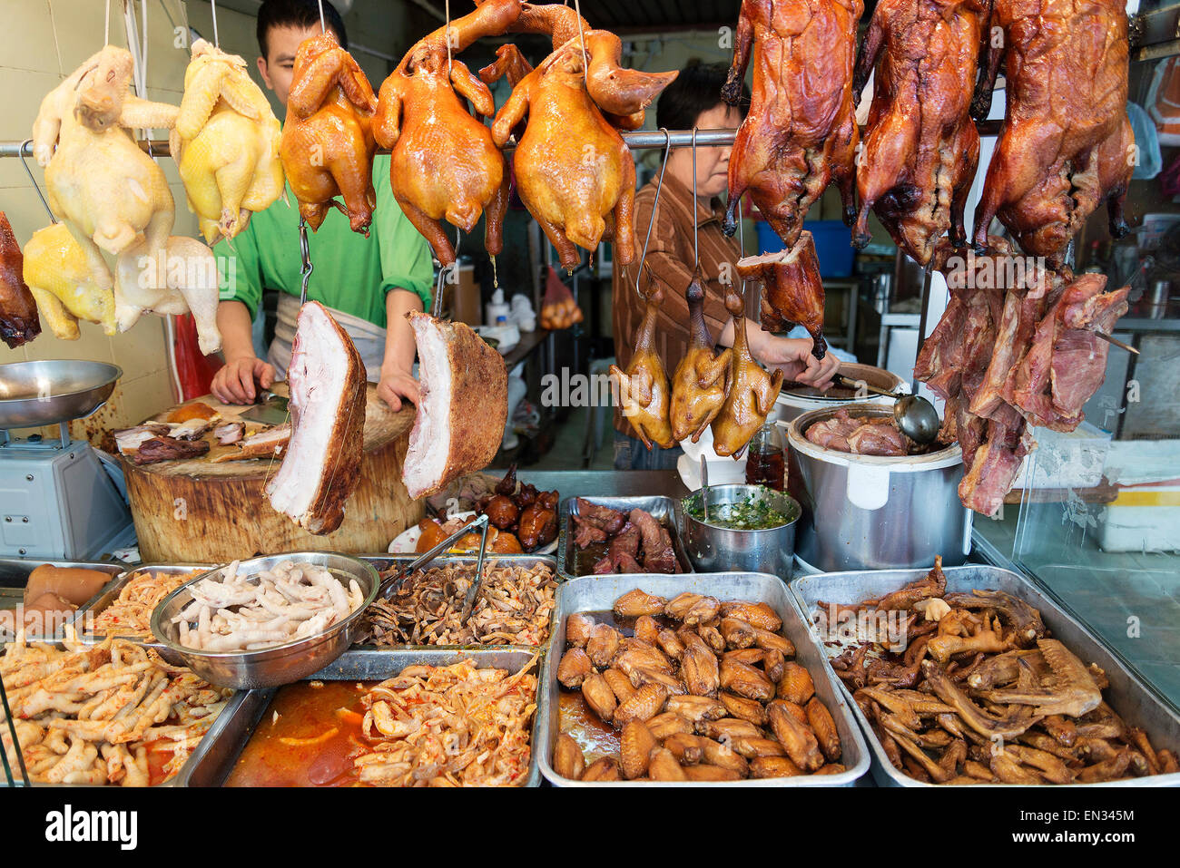 chinese meat food at butcher shop in macau macao street market china - Stock Image