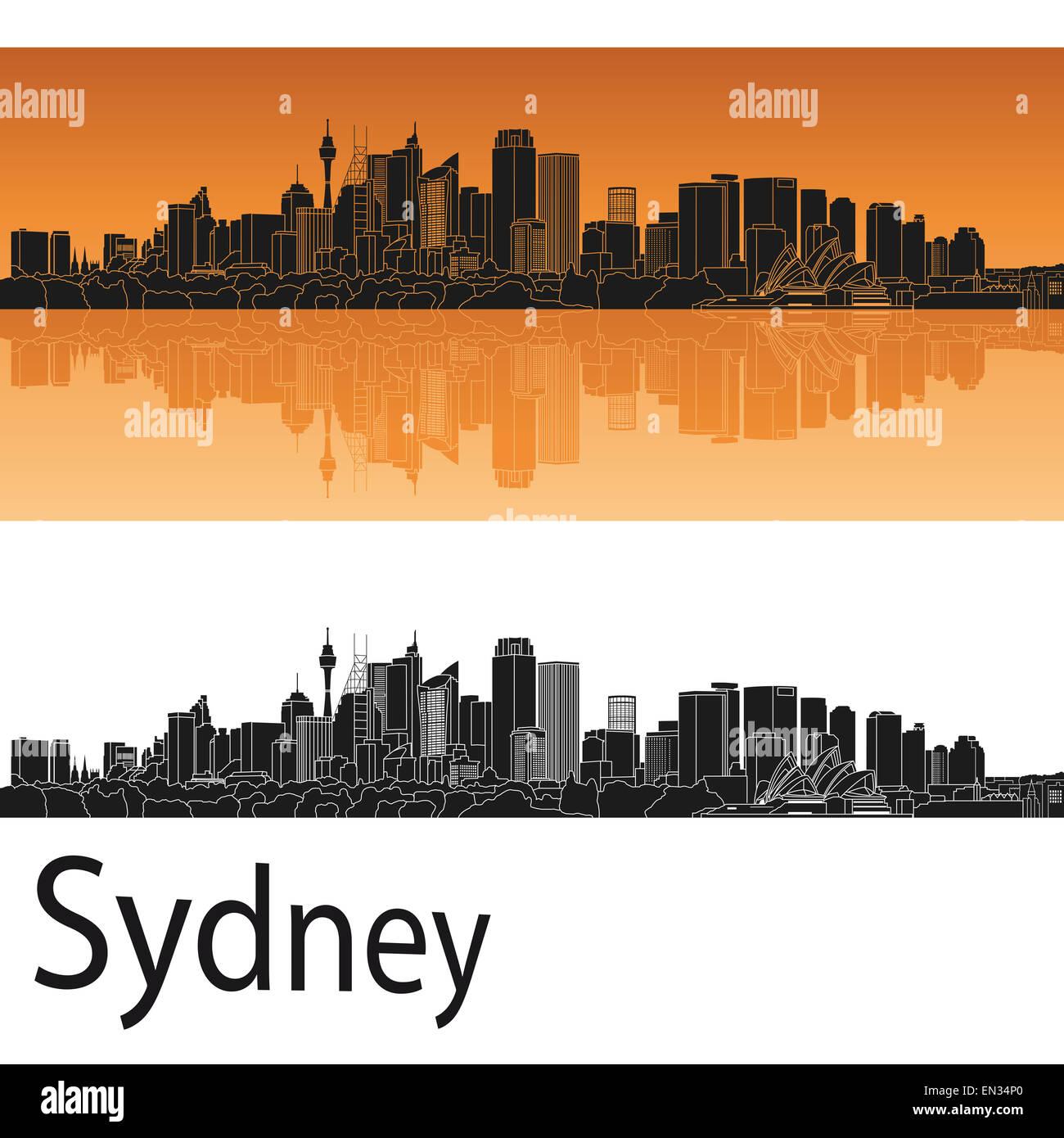 Sydney V2 skyline in orange background in editable vector file - Stock Image