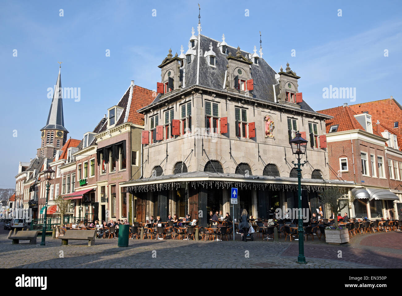 Restaurant, former historical cheese scale, De Roode Steen square, Hoorn, province of North Holland, The Netherlands - Stock Image