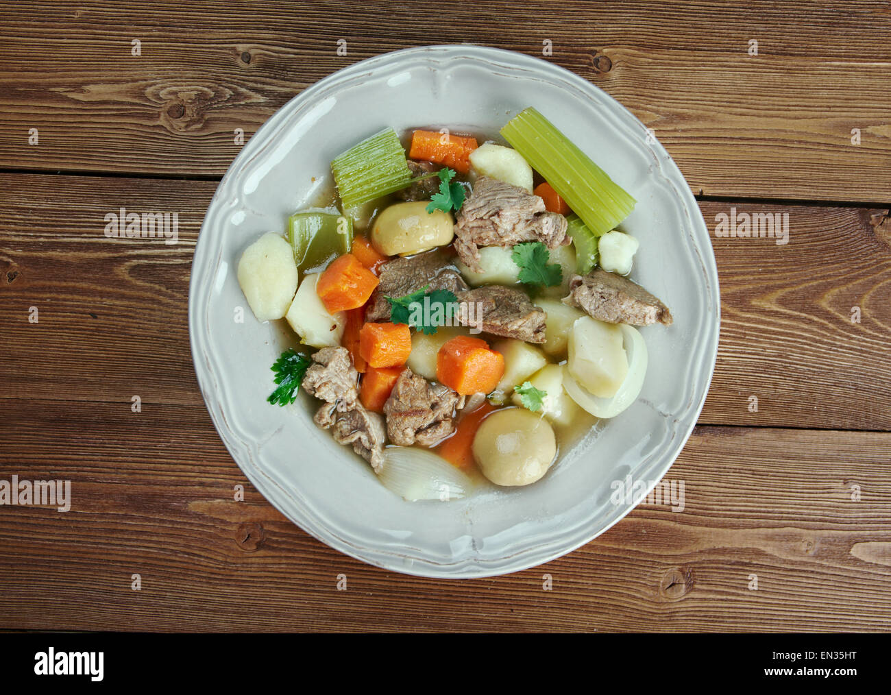 Skirts and kidneys - Irish stew made from pork and pork kidneys. Stock Photo