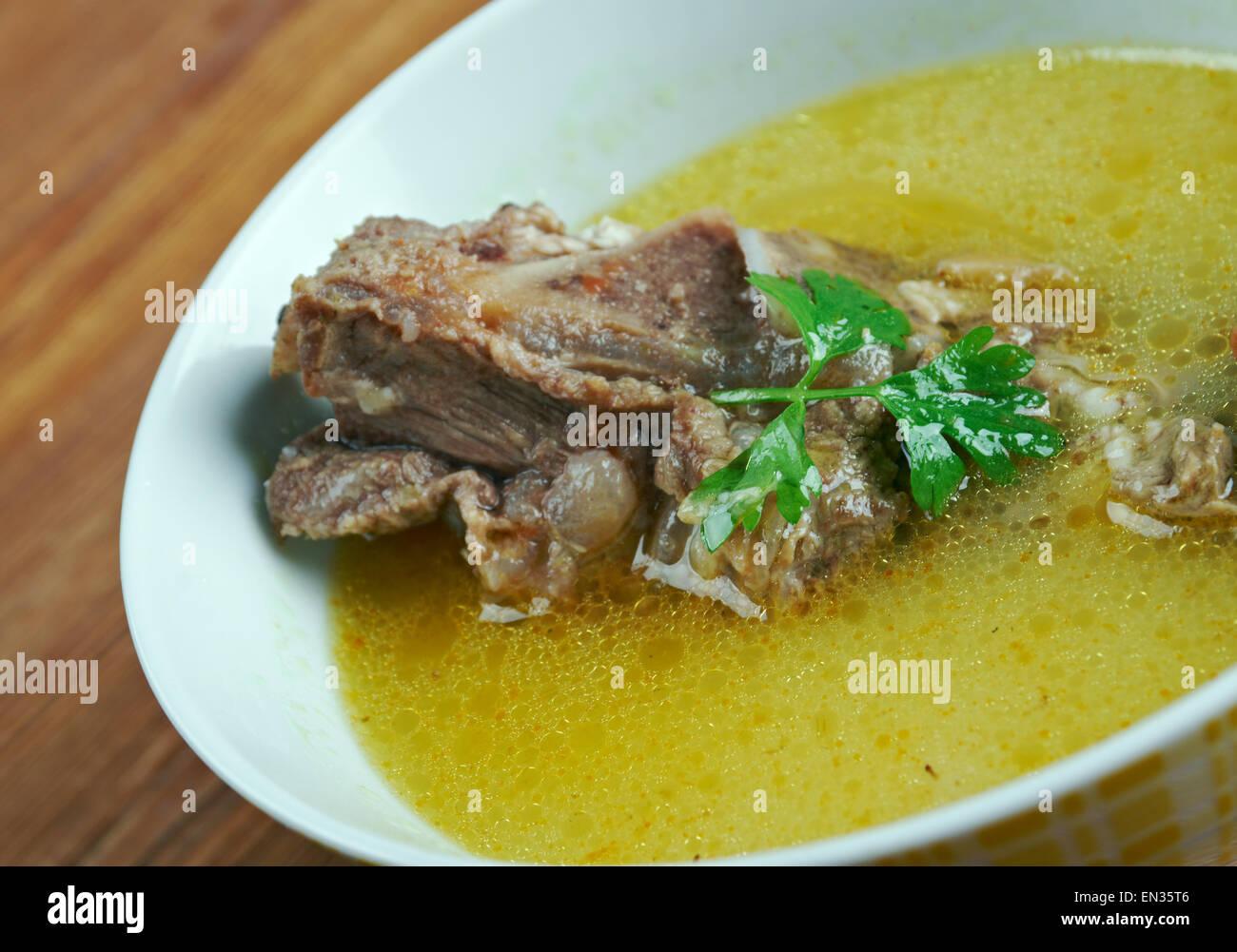kelle-paca - liquid hot dish, soup, common in Azerbaijan, Iran and Turkey. - Stock Image