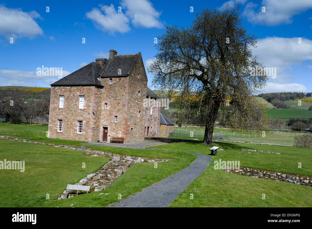 Commendators house, Melrose Abbey - Stock Image