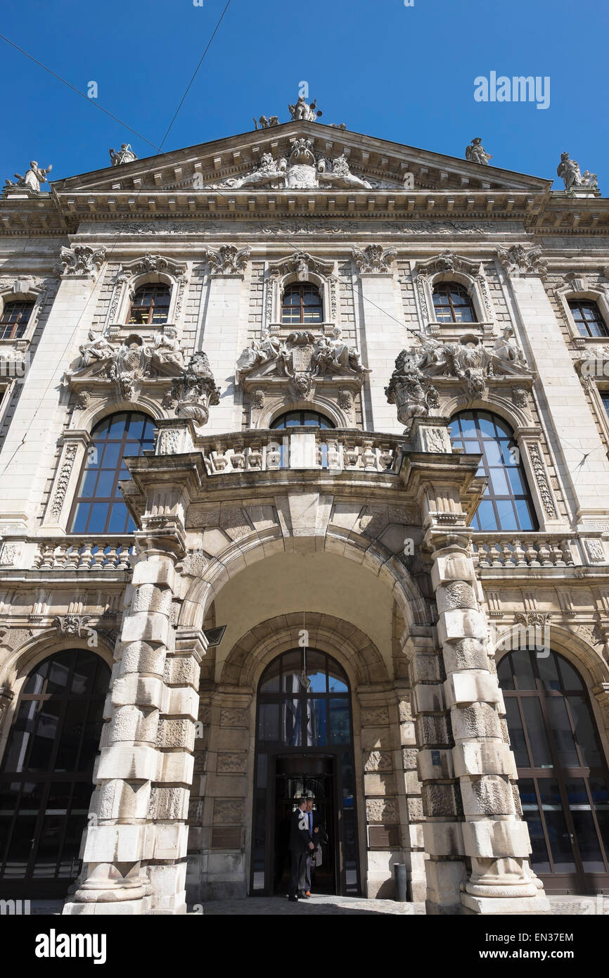 Main entrance of the Palace of Justice, Munich, Upper Bavaria, Bavaria, Germany - Stock Image