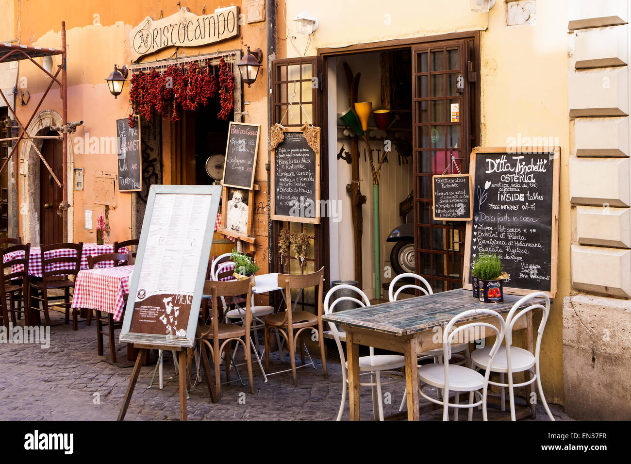 Typical italian restaurant trastevere rome italy stock