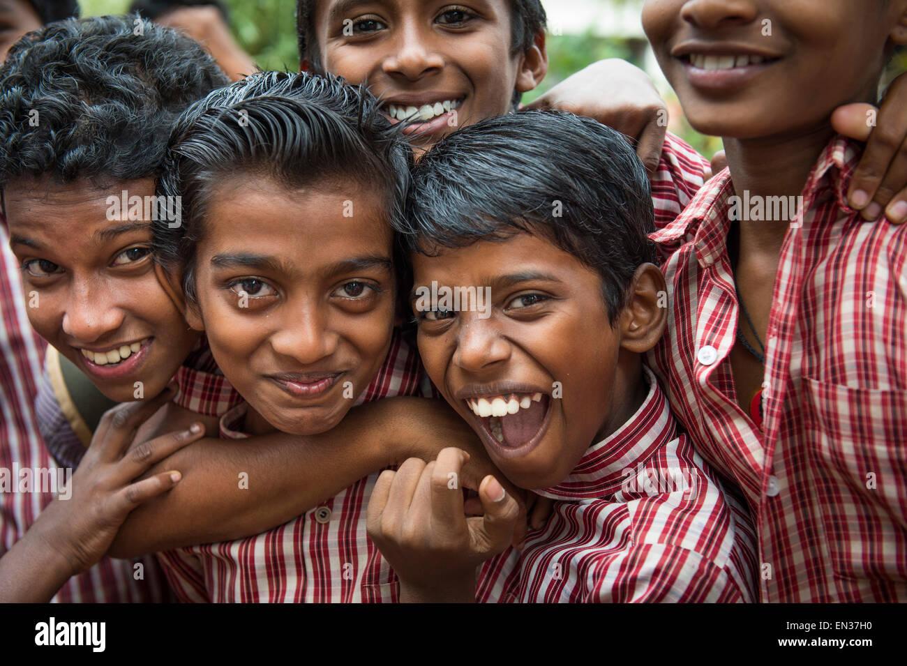 Schoolboys, Cochin, Kochi, Kerala, India - Stock Image