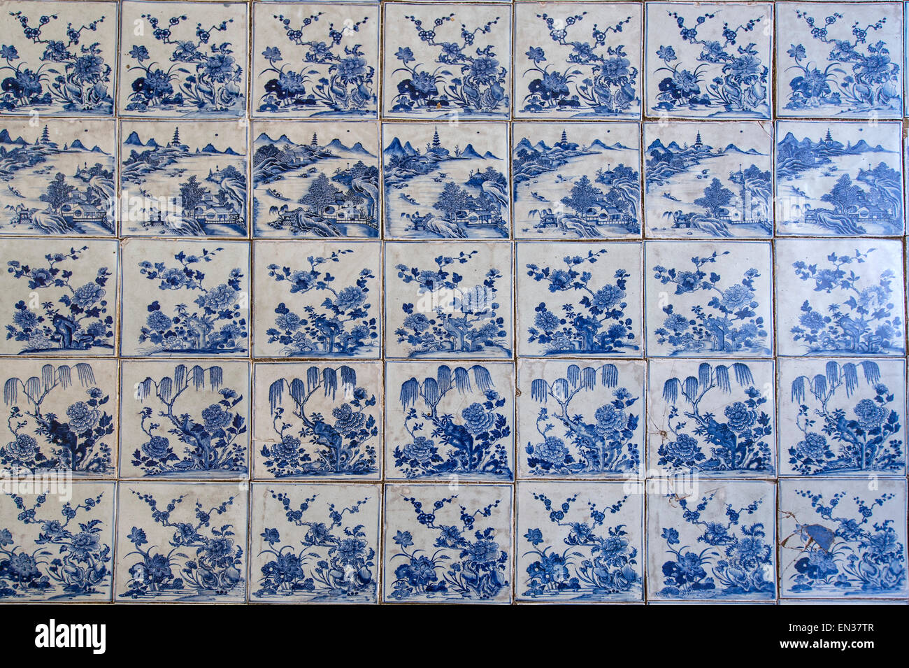 Floor made of hand-painted Chinese porcelain tiles in the Paradesi Synagogue, Jewish Quarter or Jew Town, Mattancherry, - Stock Image