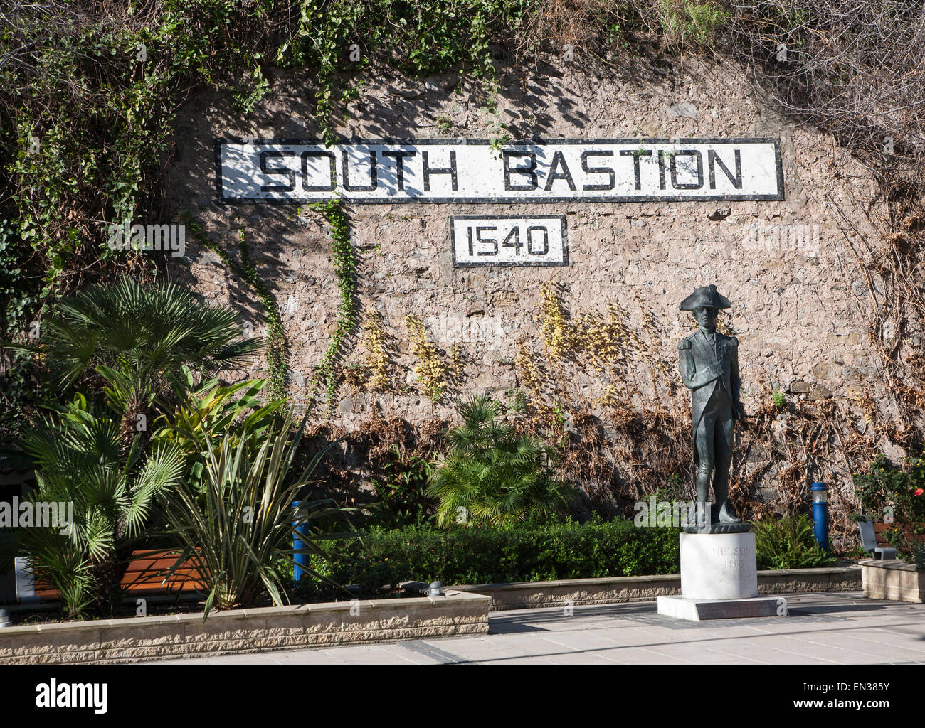 Statue of Admiral Lord Nelson at South Bastion, Gibraltar, British terroritory in southern Europe - Stock Image