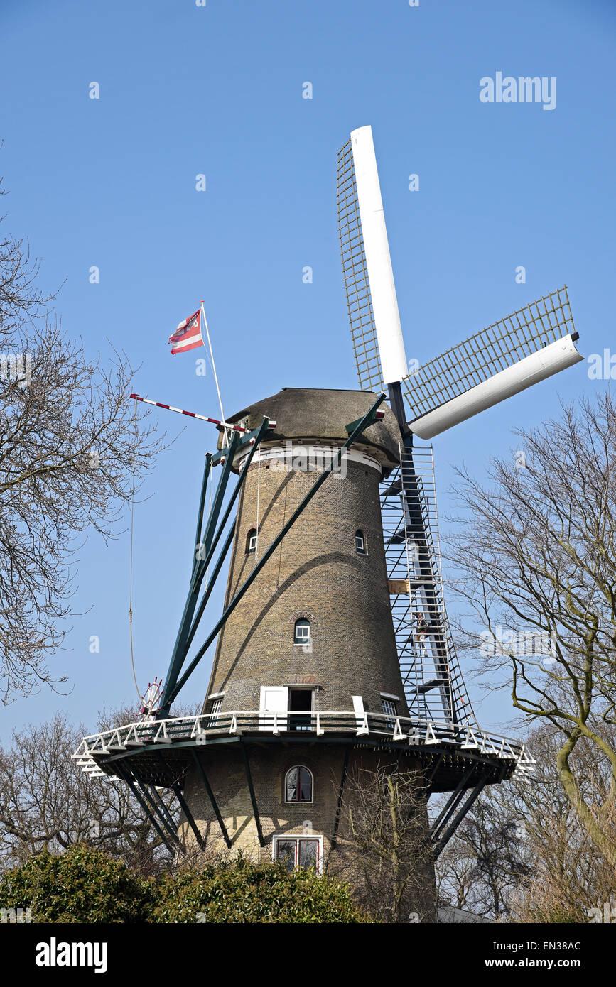 Windmill, Alkmaar, North Holland, The Netherlands - Stock Image
