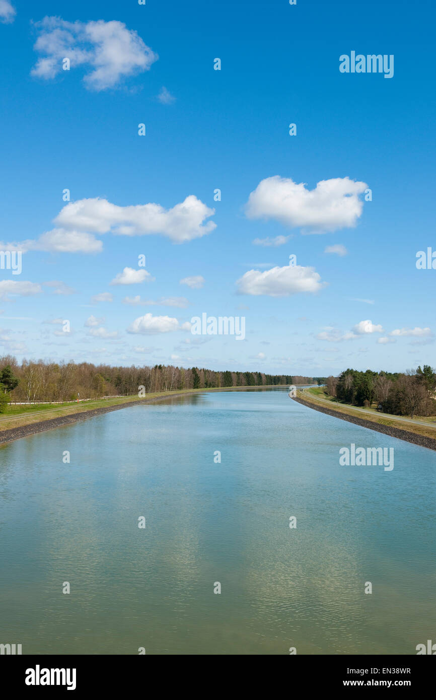 Federal waterway Elbe Lateral Canal, near Stüde, Lower Saxony, Germany - Stock Image