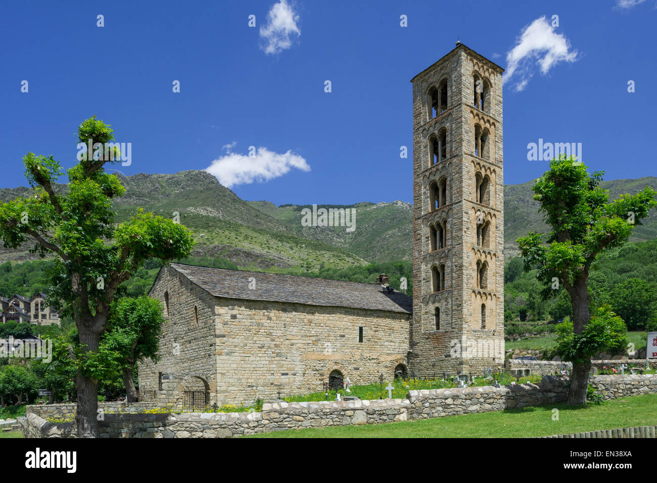 Romanesque church of Sant Climent de Taüll, Unesco World Heritage Site, Vall de Boí, Taüll, Catalonia, - Stock Image