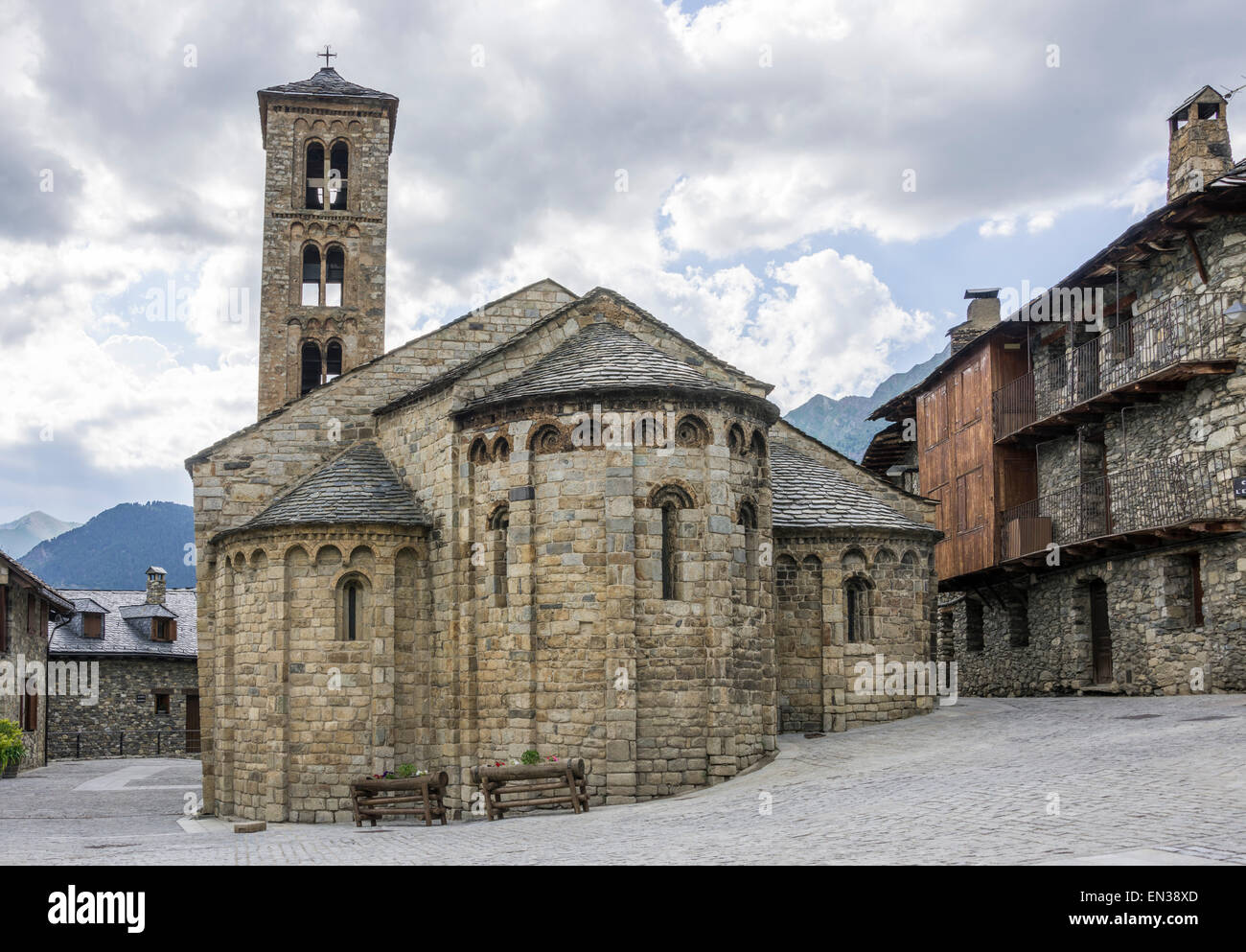 Romanesque church of Santa Maria de Taüll, Unesco World Heritage Site, Vall de Boí, Taüll, Catalonia, - Stock Image