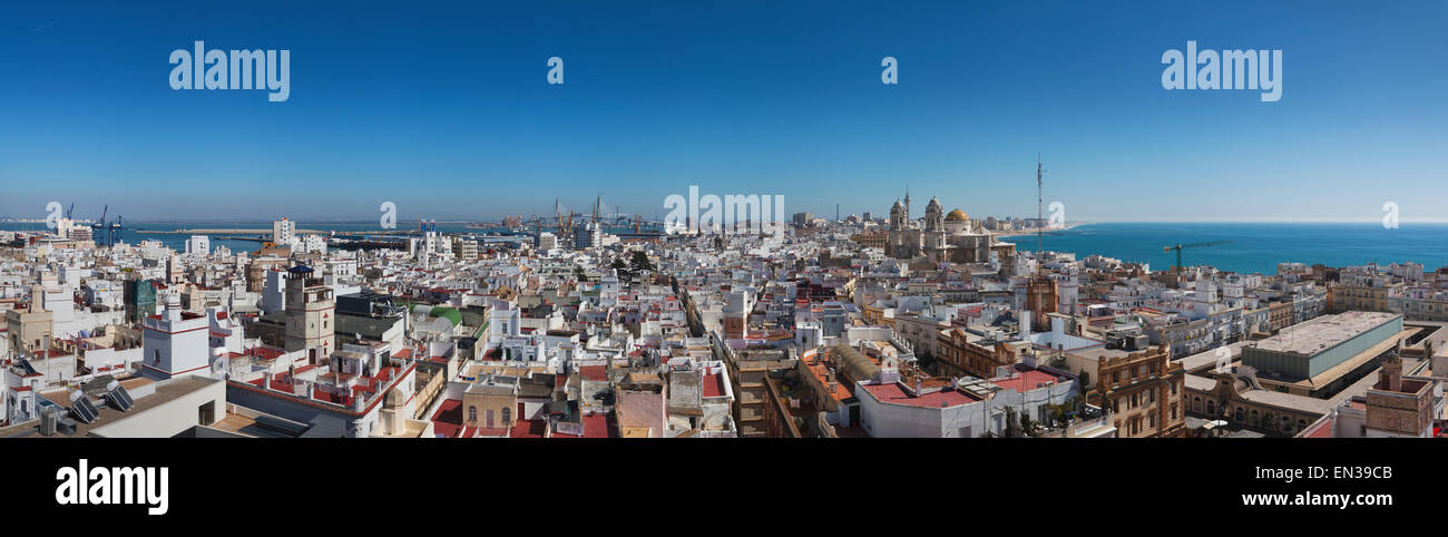 View from Torre Tavira onto the historic centre, Cadiz, Andalucia, Spain - Stock Image