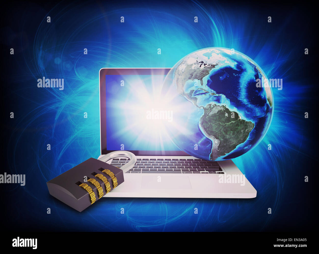 Earth model above laptop with lock - Stock Image