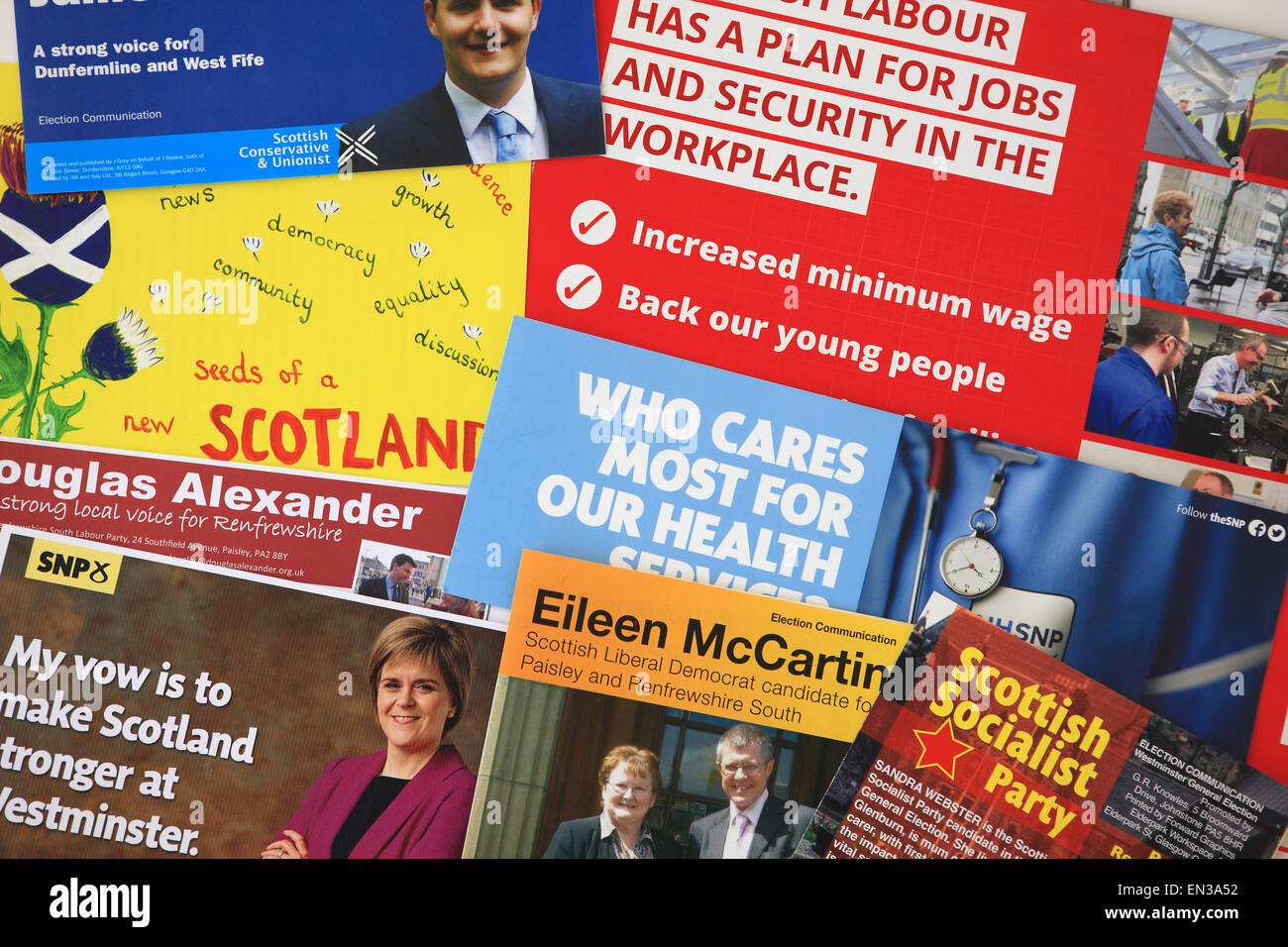 General election, 7 May 2015, campaign flyers from various political parties - Stock Image