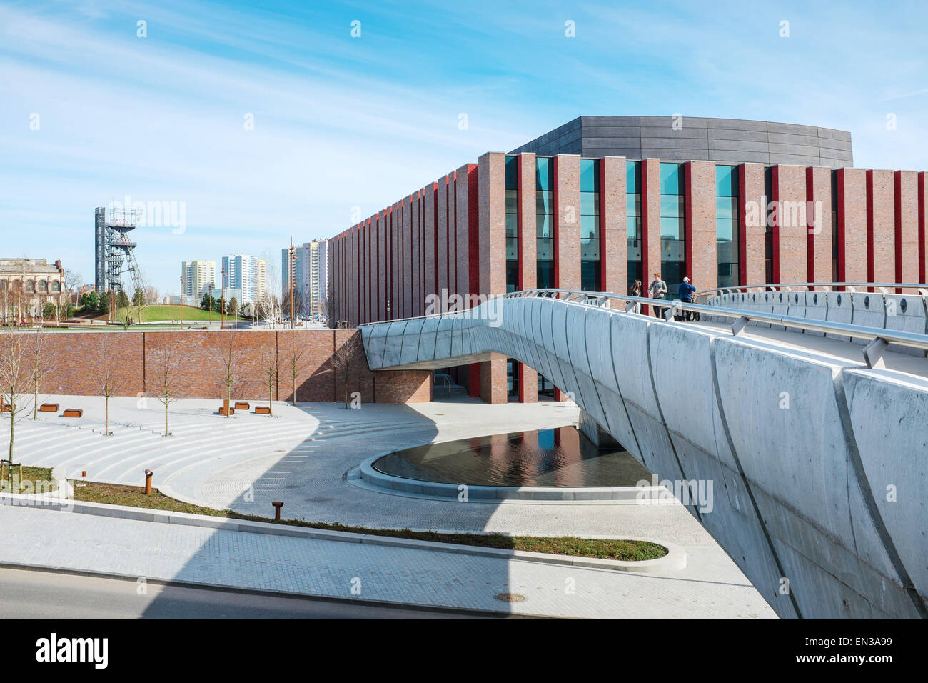 Polish National Radio Symphony Orchestra modern building , Katowice, Poland with Silesian Museum hoist tower in - Stock Image