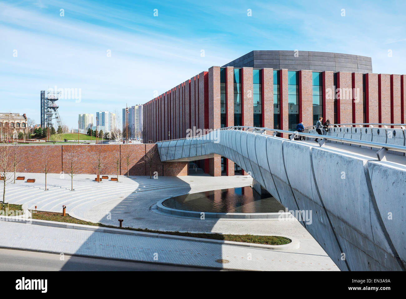 Polish National Radio Symphony Orchestra modern building , Katowice, Poland with Silesian Museum hoist tower in Stock Photo