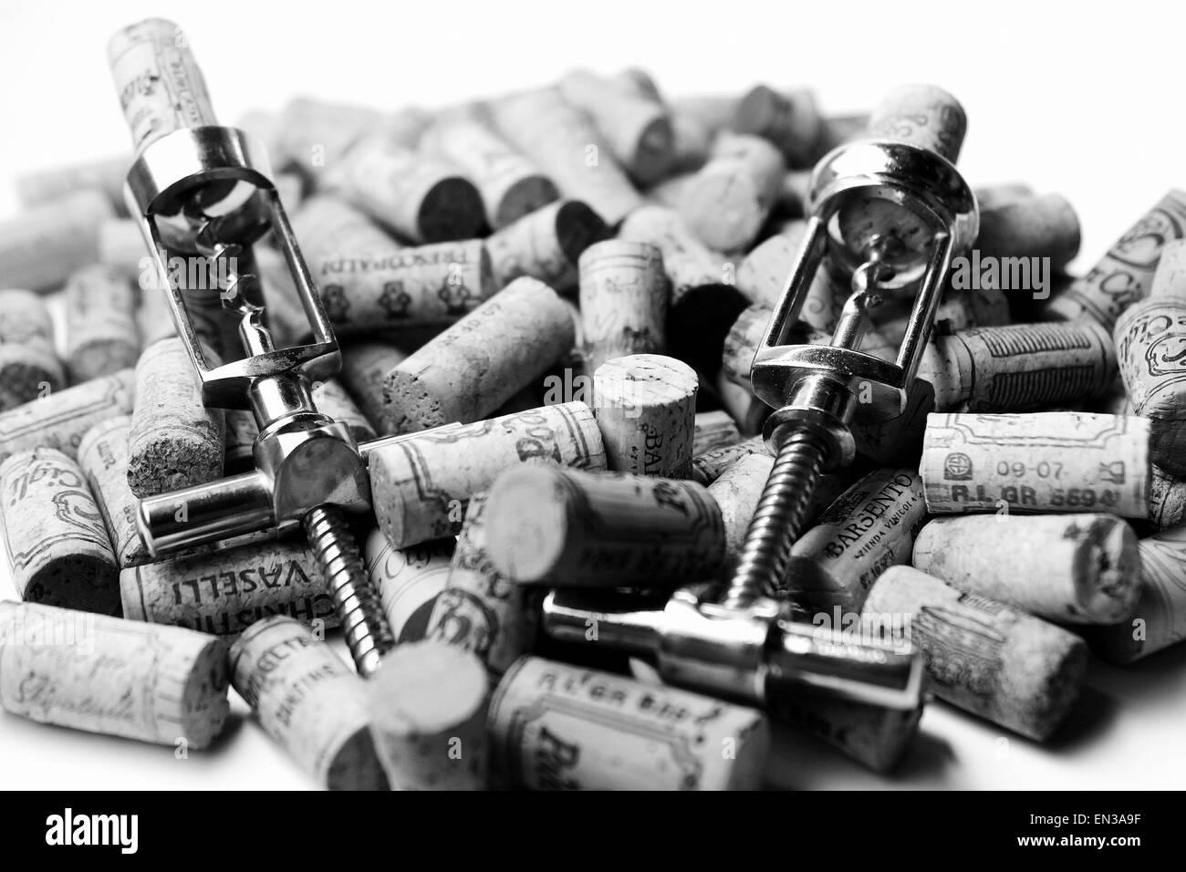 Corkscrews and corks - Stock Image