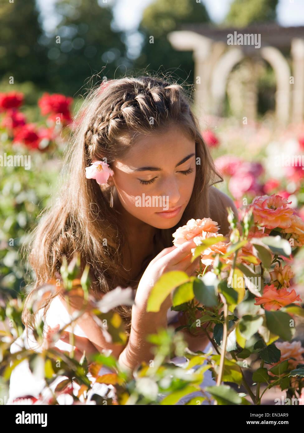 American teen girl smelling